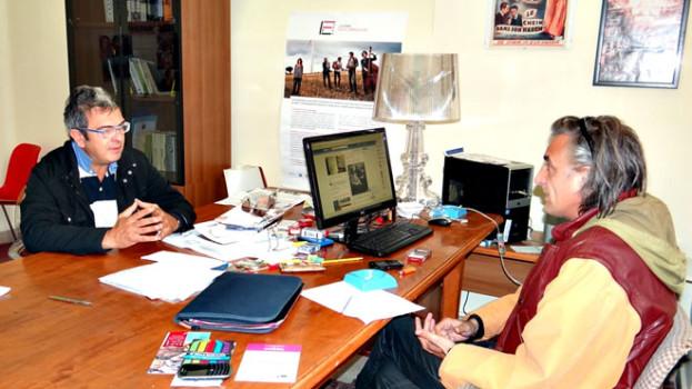 Il candidato alla Regione Basilicata Angelo Galgano incontra il presidente della Lucana Film Commission, Paride Leporace