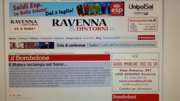 Matera inciampa sui Sassi e la concorrente Ravenna ne approfitta per denigrarla