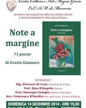 "Grazia Giannace e le sue ""Note A Margine"" presentate al CECAM"