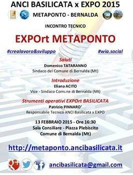"""""""EXPOrt Metaponto"""" per promuovere i prodotti agricoli e i servizi turistici"""