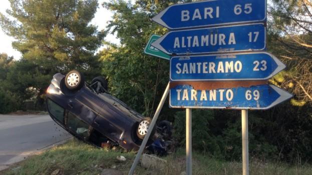 Auto si ribalta in contrada Quartarella. Nessun ferito.