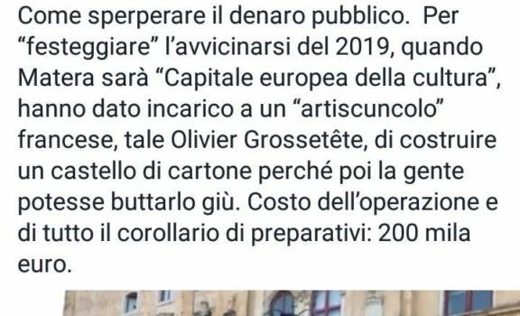 Vittorio Sgarbi al vetriolo su Matera 2019. Dura critica al castello di cartone.